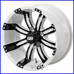 14 Casino White/Black Golf Cart Wheel (Set of 4)