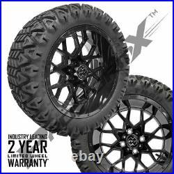 14 Chaos Glossy Black Wheels 23 Carlisle A. T. Tires Lifted Golf Carts ProFormX