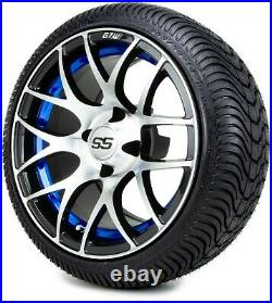 14 GTW Pursuit Blue Golf Cart Wheels and Tires (205-30-14) Set of 4