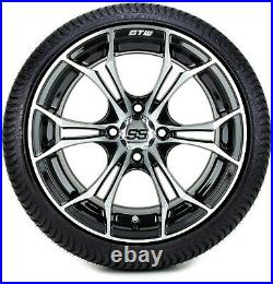 14 GTW Spyder Machined Black Golf Cart Wheels and Tires (205-30-14) Set of 4