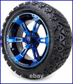 14 MODZ Ambush Blue & Black Golf Cart Wheels and All Terrain Tires Combo