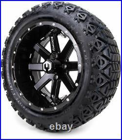 14 MODZ Assault Black Ball Mill Golf Cart Wheels & All Terrain Tires Combo
