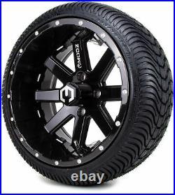14 MODZ Assault Black Ball Mill Golf Cart Wheels & Low Profile Tires Combo