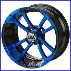 14 Maltese Cross Black/Blue Golf Cart Wheel (Set of 4)