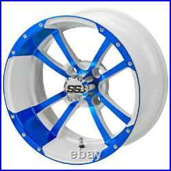14 Maltese Cross White/Blue Golf Cart Wheel (Set of 4)