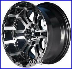 14 Omega Machine & Black Wheel w 23x10-14 Tire Golf Cart ezgo club Wheel Combo