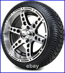 14 Reef Machined and Black Golf Cart Wheels and Tires (205-30-14) Set of 4