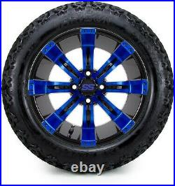 14 Tempest Blue and Black Golf Cart Wheels and Tires (23x10.00-14) Set of 4