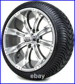 14 Tempest Gunmetal Golf Cart Wheels and Tires (205-30-14) Set of 4