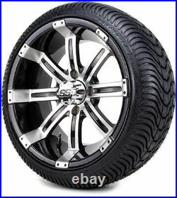 14 Tempest Machined & Black Golf Cart Wheels & Low Profile Tires Combo Set of 4