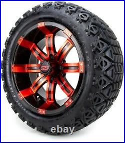 14 Tempest Red and Black Golf Cart Wheels and Tires (23x10.00-14) Set of 4