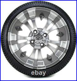 14 Vampire Gunmetal Golf Cart Wheels and Tires (205-30-14) Set of 4