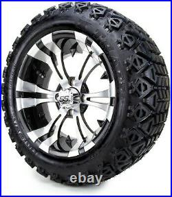 14 Vampire Machined & Black Golf Cart Wheels and Tires (23x10.00-14) Set of 4