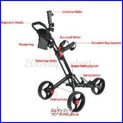 3 Wheel Push Pull Golf Club Cart Cup/Umbrella Holder-Compact Folding Lightweight