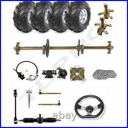 32 Go Kart Rear Axle Shaft Kit Brake 7 Wheels Tires Quad Buggy Golf Cart ATV