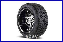 (4) Fairway Alloys 12 Aggressor Golf Cart Car Rim Wheel & EFX Low Profile Tires