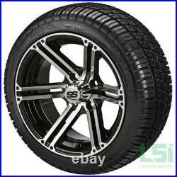 4 Golf Cart 205/30-12 Tire on a 12x6 Blk/Machined Yukon Wheel Free Freight