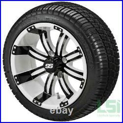 4 Golf Cart 205/30-12 Tire on a 12x7 White/Black Tempest Wheel Free Freight