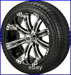 4 Golf Cart 205/30-14 Tire on a 14x7 Black/Machined Tempest Wheel Free Freight