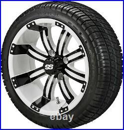 4 Golf Cart 205/30-14 Tire on a 14x7 White/Black Casino Wheel