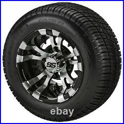 (4)Golf Cart 205/50-10 DOT Tire on 10x7 Black/Machined Vampire Wheel Free Freigh