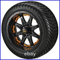 4 Golf Cart 205/50-10 Tire on 10 Matte Black Revenge Wheel WithOrange Inserts