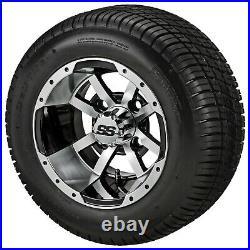 (4)Golf Cart 205/50-10 Tire on 10x7 Black/Machined Storm Trooper Wheel