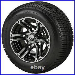 (4)Golf Cart 205/50-10 Tire on 10x7 Black/Machined Yukon Wheel Free Freight