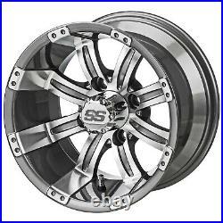 (4)Golf Cart 205/50-10 Tire on 10x7 Gunmetal Tempest Wheel Free Freight