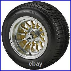 (4)Golf Cart 205/50-10 Tire on 10x7 Machined/Gold 14-Spoke Wheel Free Freight