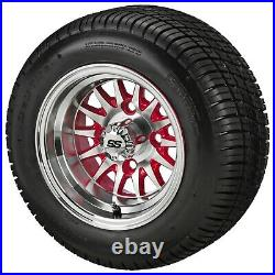 (4)Golf Cart 205/50-10 Tire on 10x7 Machined/Red 14-Spoke Wheel Free Freight