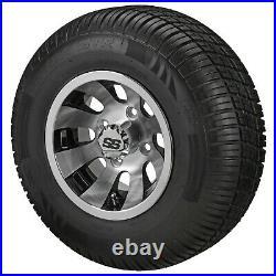 (4)Golf Cart 205/50-10 Tire on 10x7 Machined Revolver Wheel