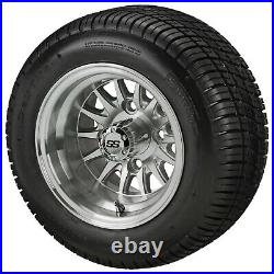 (4)Golf Cart 205/50-10 Tire on 10x7 Machined/Silver 14-Spoke Wheel Free Freight