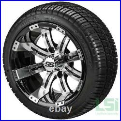 4 Golf Cart 215/35-12 DOT Radial Tires on 12x7 Black Machine Tempest Wheels