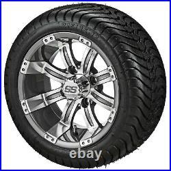 4 Golf Cart 215/35-12 DOT Tire on a 12x7 Gunmetal Tempest Wheel