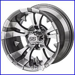 4 Golf Cart 215/35-12 DOT Tire on a 12x7 Gunmetal Vampire Wheel Free Freight
