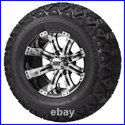 4 Golf Cart 22x11-10 Black Trail Tire on 10x7 Black/Machined Tempest Wheel