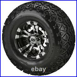 4 Golf Cart 22x11-10 Black Trail Tire on 10x7 Black/Machined Vampire Wheel