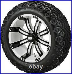 4 Golf Cart 23x10-14 Tire on a 14x7 White/Black Casino Wheel