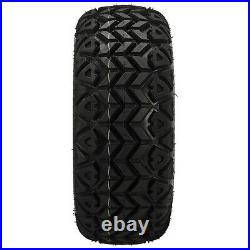 4 Golf Cart 23x10.50-12 All-Terrain Tires 12x7 Black/Machined Vampire Wheels
