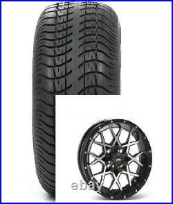 (4) ITP 14 Hurricane Aluminum Alloy Golf Cart Car Rim Wheels & Low Profile Tires