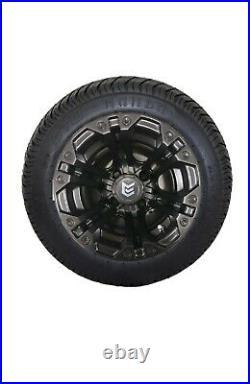 BLOWOUT (4)Golf Cart 205/50-10 Tire on 10x7 ALL BLACK Aluminum Spectre Wheels