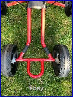Bag Boy Quad 4-Wheel Push Golf Cart, Red, Compact & Light, Good Condition