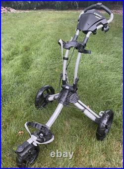 CLICGEAR ROVIC RV1S Swivel 3 Wheel Push Pull Golf Bag Cart Black Silver USED