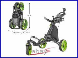 CaddyTek CaddyLite Lime Swivel Front Wheel Golf Push Cart Version 8