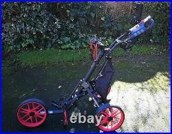 CaddyTek EZ-Fold 3 Wheel Golf Push Cart Golf Trolley - Red