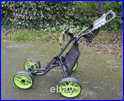 CaddyTek One-Click Folding Golf trolley 4 Wheel Push/Pull Cart V3-Lime