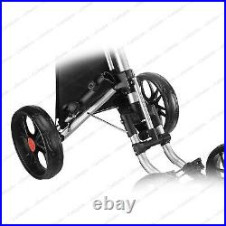 CaddyTek One-Click Folding Golf trolley 4 Wheel Push/Pull Cart V3-Lime NEW