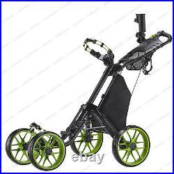 CaddyTek One-Click Folding Golf trolley 4 Wheel Push/Pull Cart V3-LimeNEW
