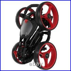 Caddymatic Golf Quad 4-Wheel Folding Golf Pull / Push Cart Black/Red